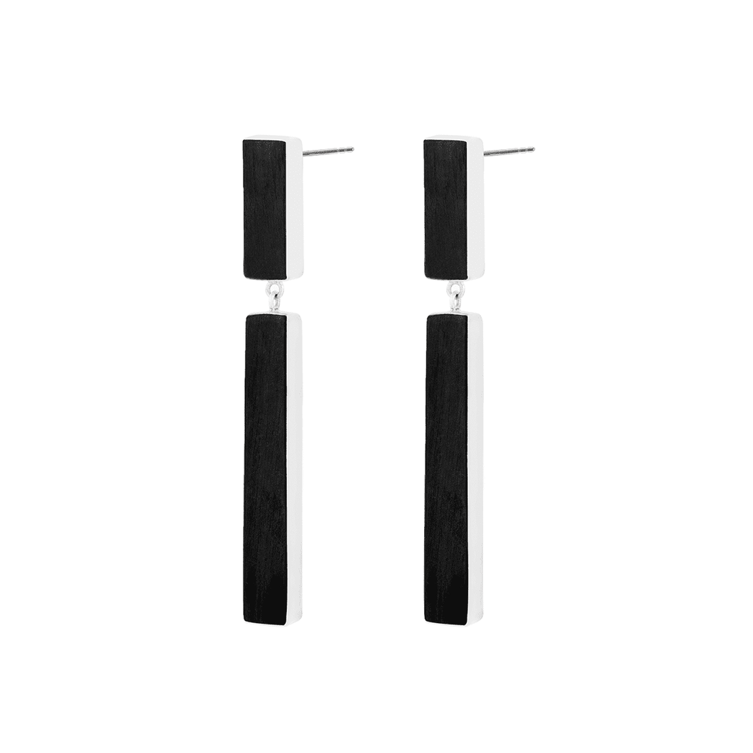 925 Sterling Silver And Ebony Wood Drop Two Line Earrings - Tanzire Store