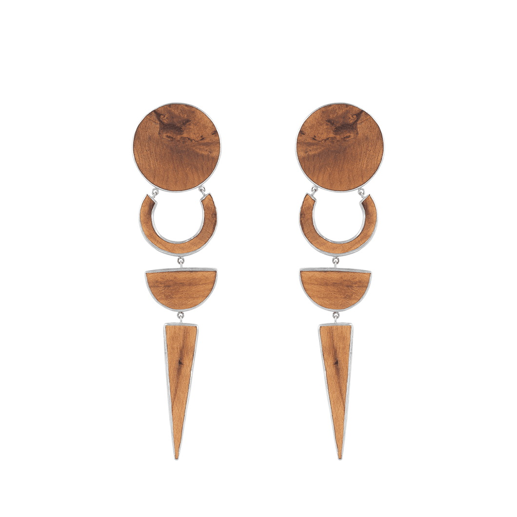 925 Sterling Silver And Ash Wood OCDV Earrings - Tanzire Store