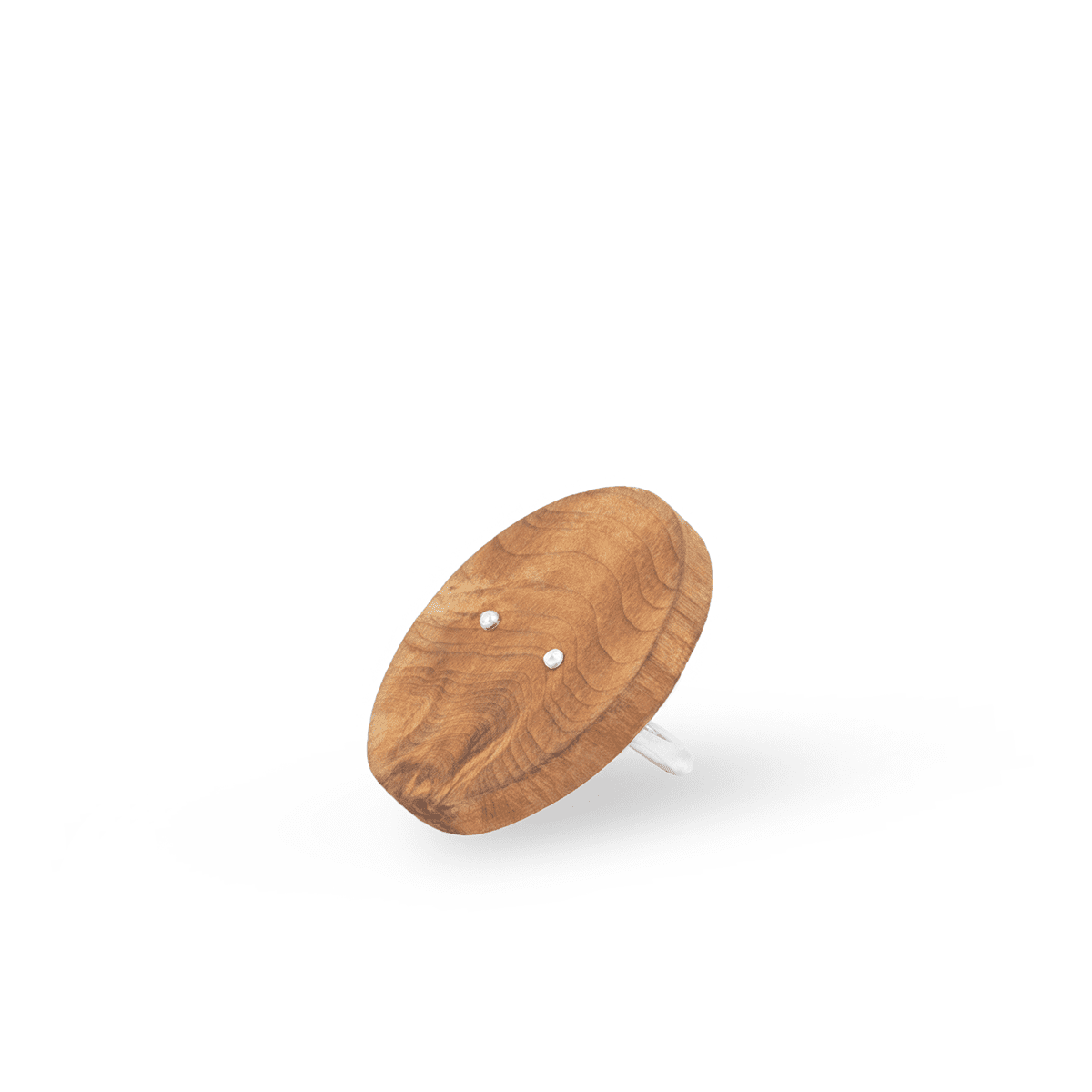 925 Sterling Silver And Ash Wood Brown Round Ring
