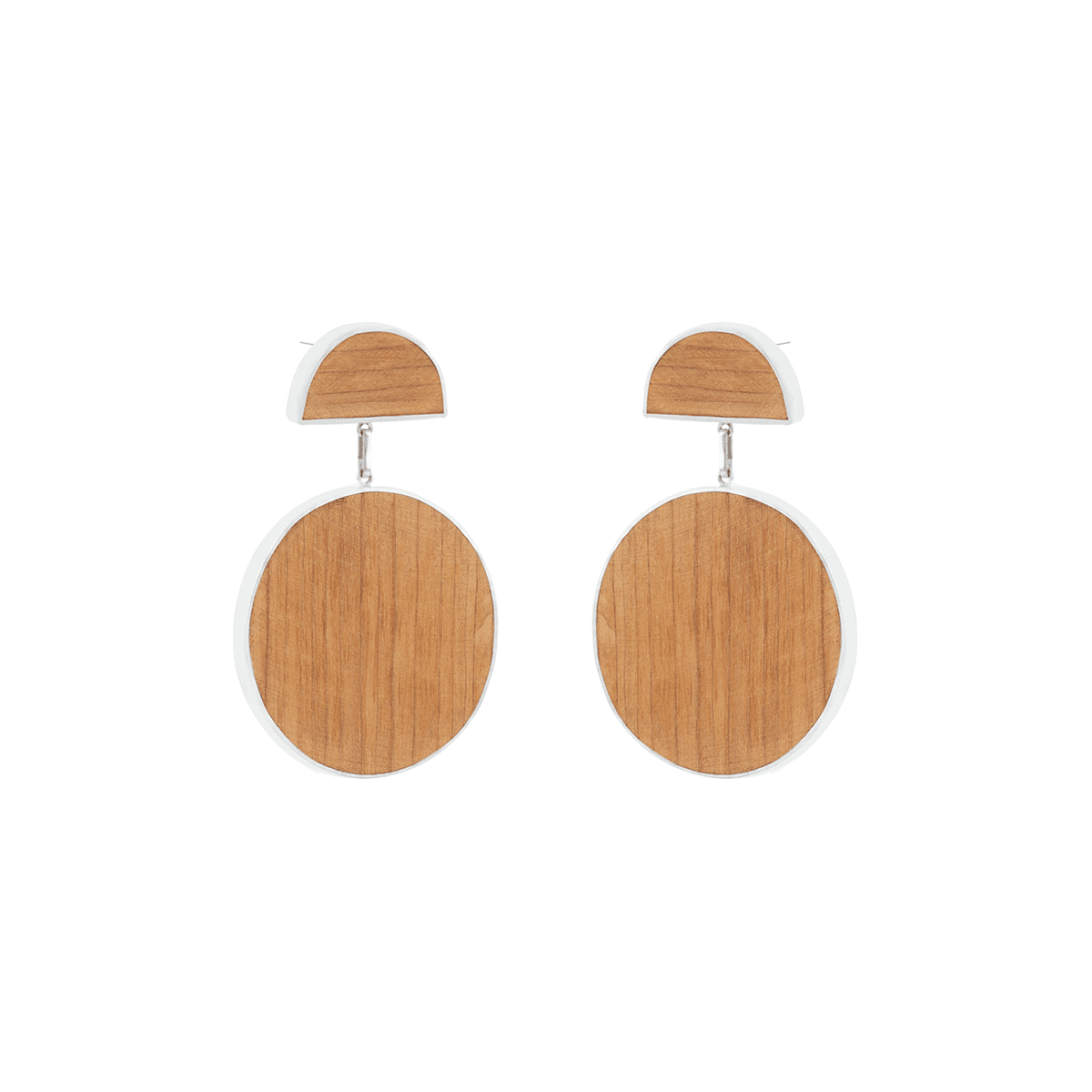 925 Sterling Silver And Birch Wood O-D Earrings