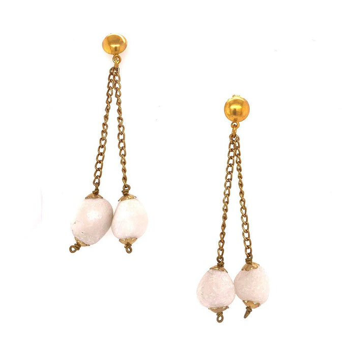 White Semi-precious Stones Drop and Dangle Layered Handmade Earrings for Women