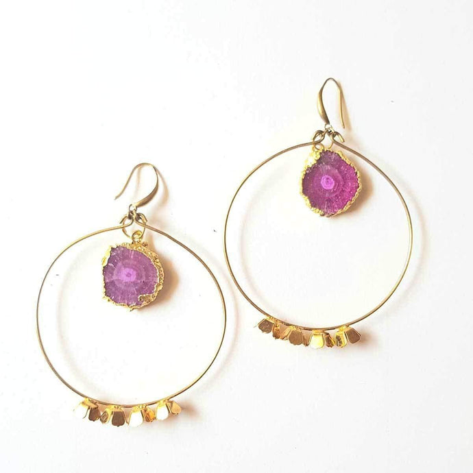 Gold Hoop Handmade Earrings with Pink Druzy Semi-Precious Stone in the middle for Women