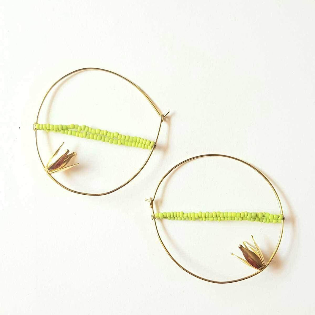 Unique Neon Green Studded Beads Simple Gold Hoop Handmade Earrings for Women