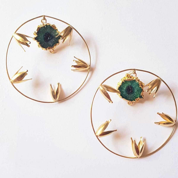 Handmade Gold Hoop with Studded Green Druzy Stone Simple Earrings for Women