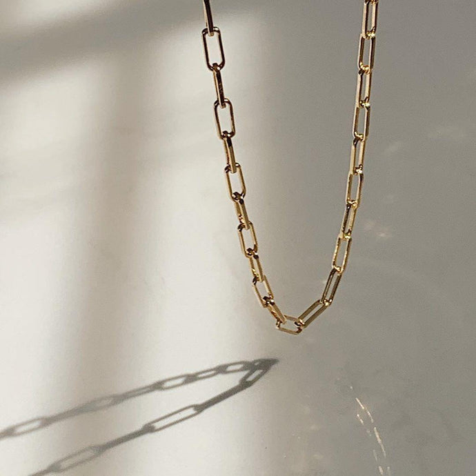 Minimal Handmade 18k Gold Vermeil Plated Paperclip Chain Link Necklace