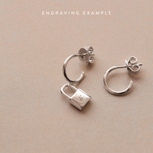 Load image into Gallery viewer, Asymmetric Bond Silver Lock Earrings