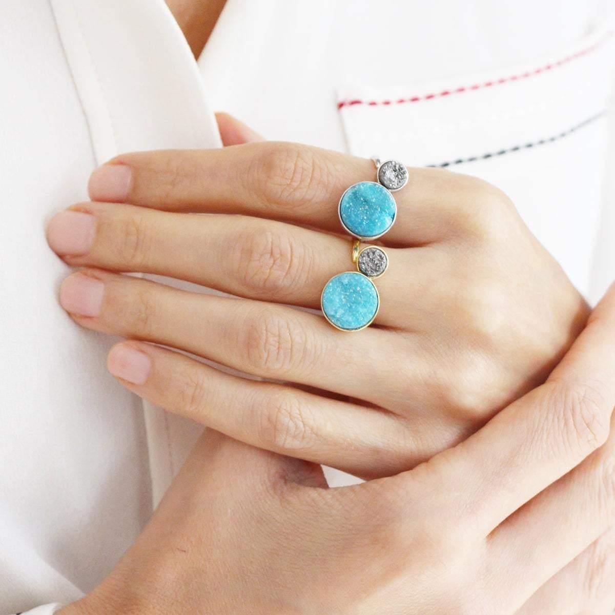 Alice Arctic Blue & Small Silver Moon Orbit Ring - Tanzire Store