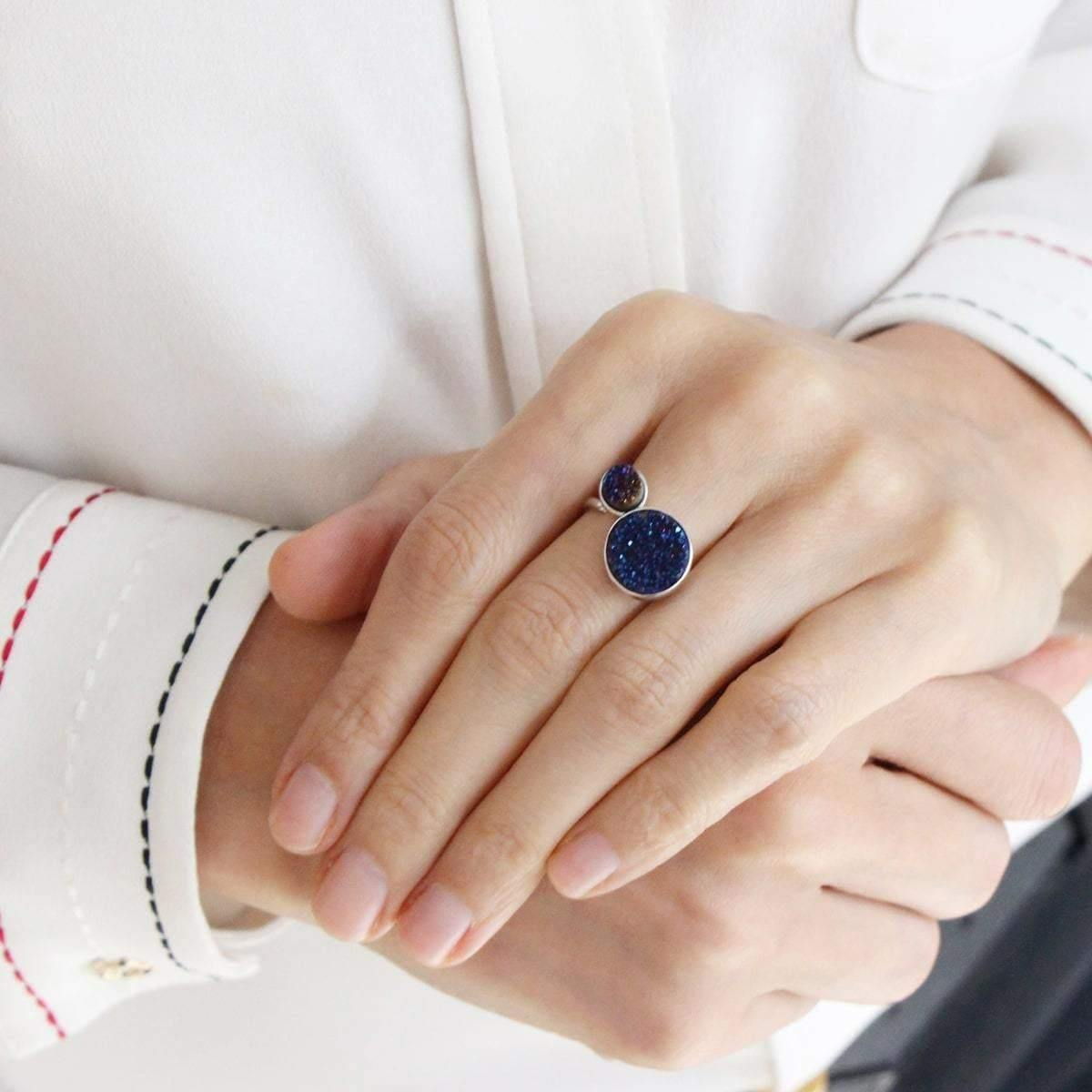 Alice Midnight Blue & Small Midnight Blue Orbit Ring - Tanzire Store