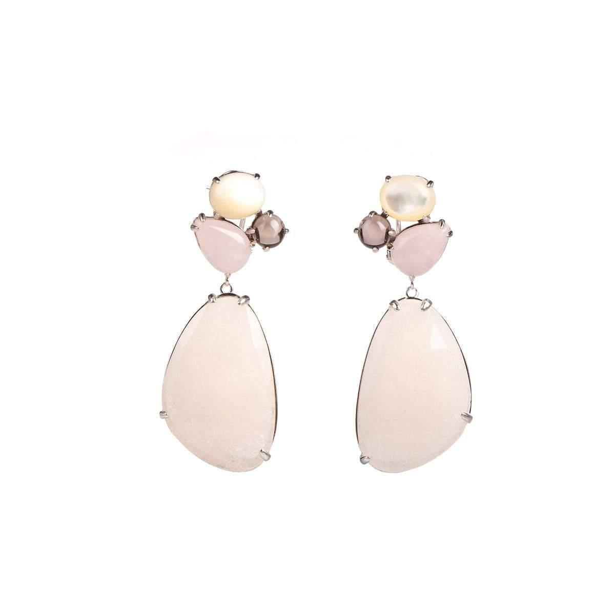 Alluring Mystery Pink Quartz & Pearl Sterling Silver Earrings
