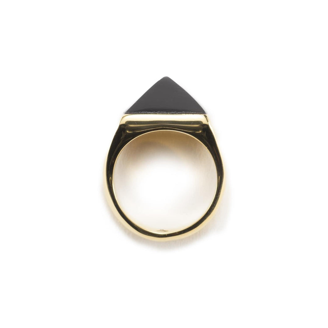 Minimal gold plated ring handmade with a black pyramid shape on top