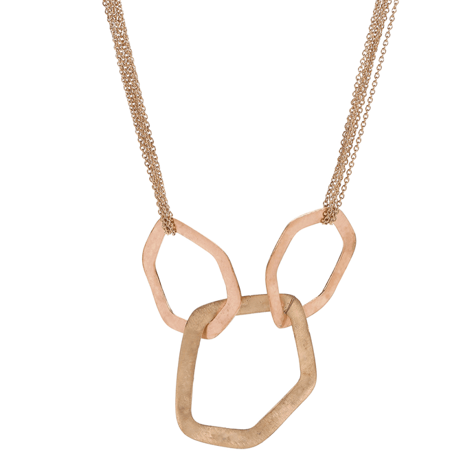 Chain Necklace Metallic Ayas 3 Rings Copper Gold Pendant Necklace - Tanzire Store