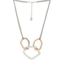 Load image into Gallery viewer, Chain Necklace Metallic Ayas 3 Rings Rose Gold Pendant Necklace - Tanzire Store