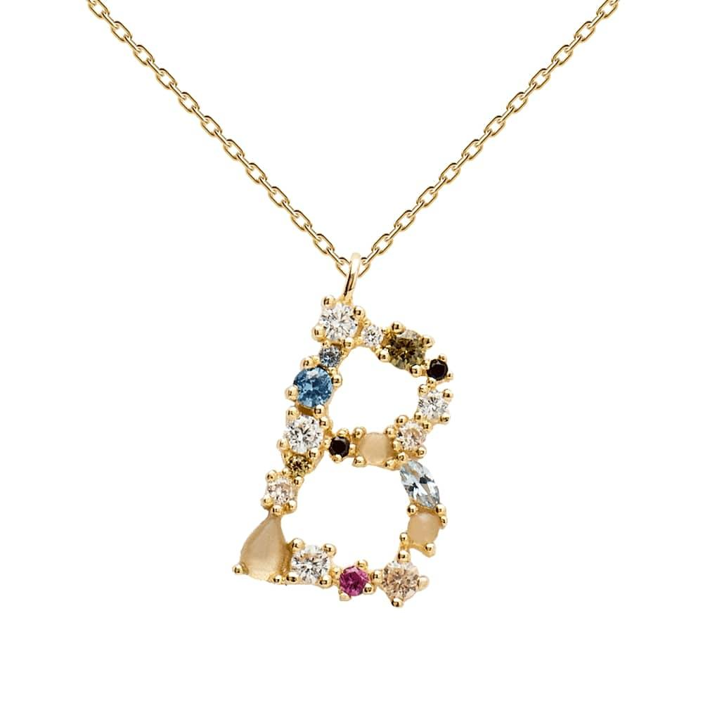Multi-color Labradorite, Aquamarine, and Zircon Studded Letter 'B' 18k Gold Plated Initial Pendant With Chain