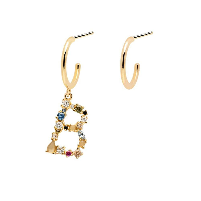 Letter B Semi-precious Colorful Multi-stone Asymmetric Dangle Initial Alphabet Earrings