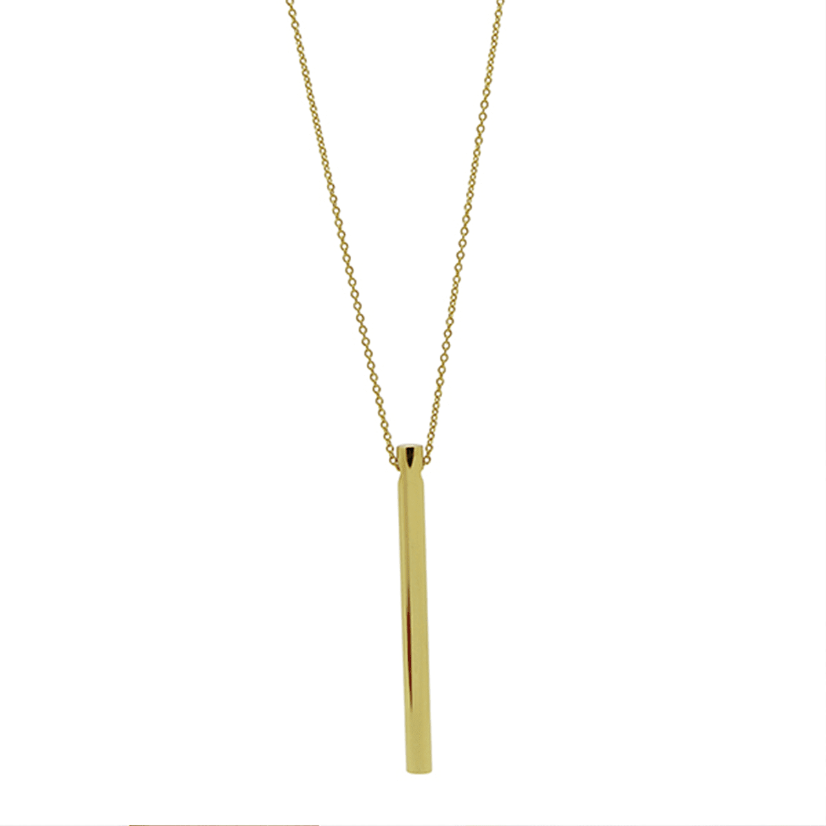 Sleek Cylindrical 18k Gold-Plated Pendant