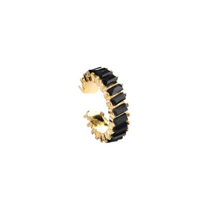 Exotic gold plated easy click ear cuff for women studded with black glass crystals handmade from copper