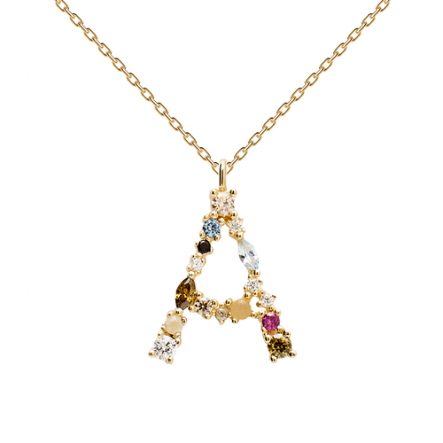 Multi-color Labradorite, Aquamarine, and Zircon Studded Letter 'A' 18k Gold Plated Initial Pendant With Chain