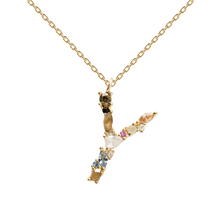 Load image into Gallery viewer, Multi-color Labradorite, Aquamarine, and Zircon Studded Letter 'Y' 18k Gold Plated Initial Pendant With Chain