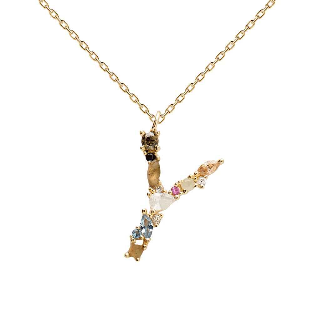 Multi-color Labradorite, Aquamarine, and Zircon Studded Letter 'Y' 18k Gold Plated Initial Pendant With Chain