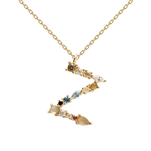 Load image into Gallery viewer, Multi-color Labradorite, Aquamarine, and Zircon Studded Letter 'Z' 18k Gold Plated Initial Pendant With Chain