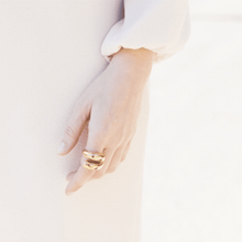 Load image into Gallery viewer, Model Wearing Handmade 18k Gold Plated Spiral Ring With Chic Formal Wear