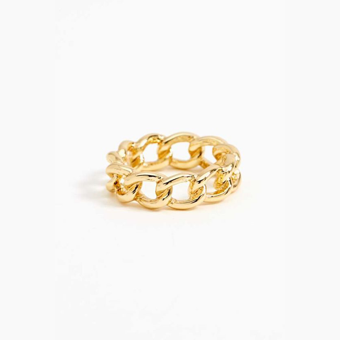 Minimal Handmade 18k Gold Plated Chain Link Band Ring