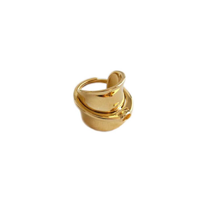 Chunky gold plated ring handmade from brass for women