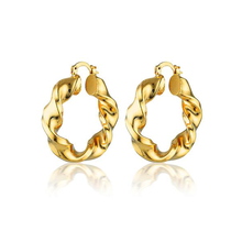 Load image into Gallery viewer, Handmade 18k Gold Vermeil Plated Twisted Hoop Earrings