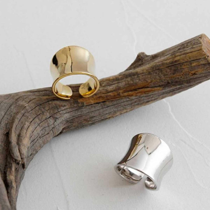 Gold and Silver plated broad handmade statement rings from Paris