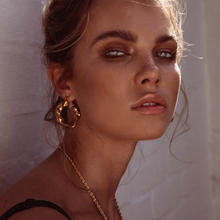 Load image into Gallery viewer, Gold Vermeil Twisted Hoop Earrings