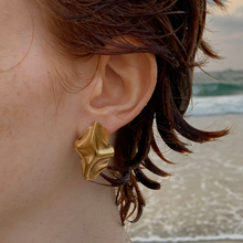 Load image into Gallery viewer, Handmade Gold Plated Folded Metal Stud Earrings