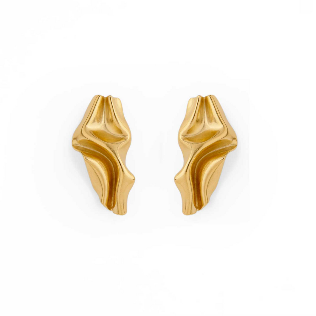 Unique Handmade 24k Gold Plated Folded Brass Stud Earrings