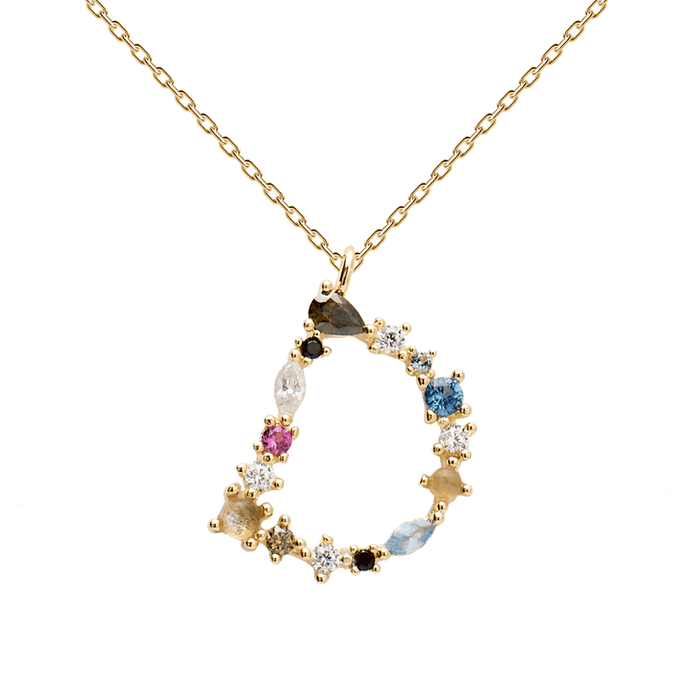 Multi-color Labradorite, Aquamarine, and Zircon Studded Letter 'D' 18k Gold Plated Initial Pendant With Chain