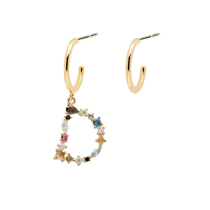 Letter D Semi-precious Colorful Multi-stone Asymmetric Dangle Initial Alphabet Earrings