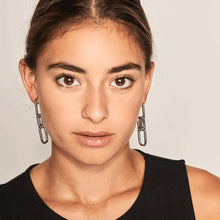 Load image into Gallery viewer, Model Wearing With-Links Silver Plated Detachable Pair of Dangle Earrings