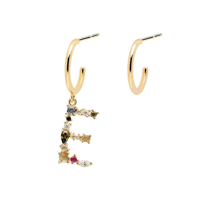 Letter E Semi-precious Colorful Multi-stone Asymmetric Dangle Initial Alphabet Earrings