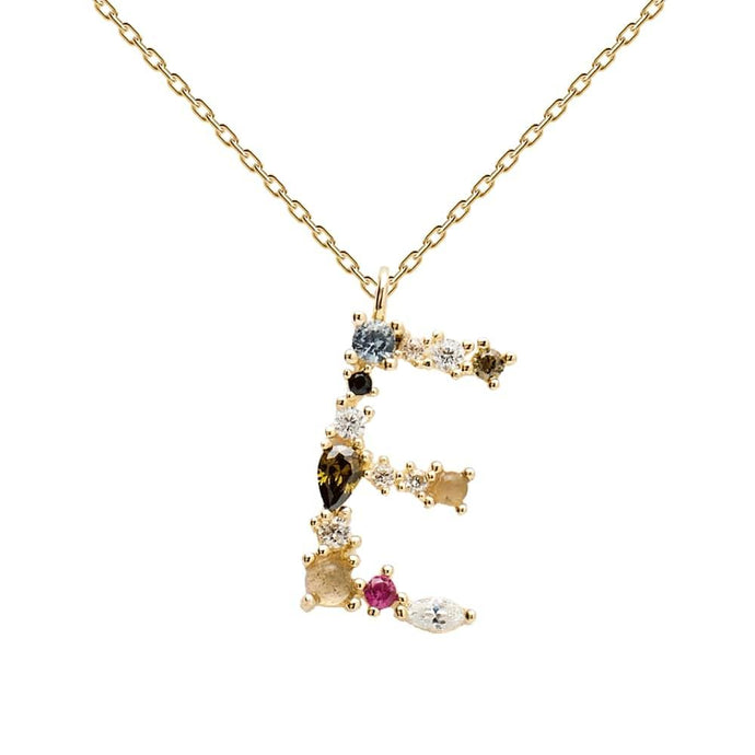 Multi-color Labradorite, Aquamarine, and Zircon Studded Letter 'E' 18k Gold Plated Initial Pendant With Chain
