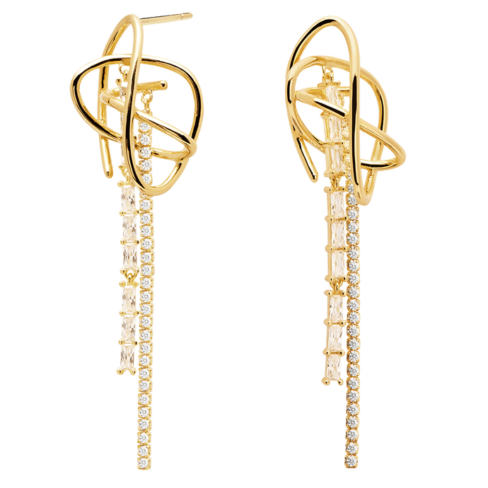 Chunky Gold Statement Dangle Earrings with Studded White Cubic Zirconias for Cocktails
