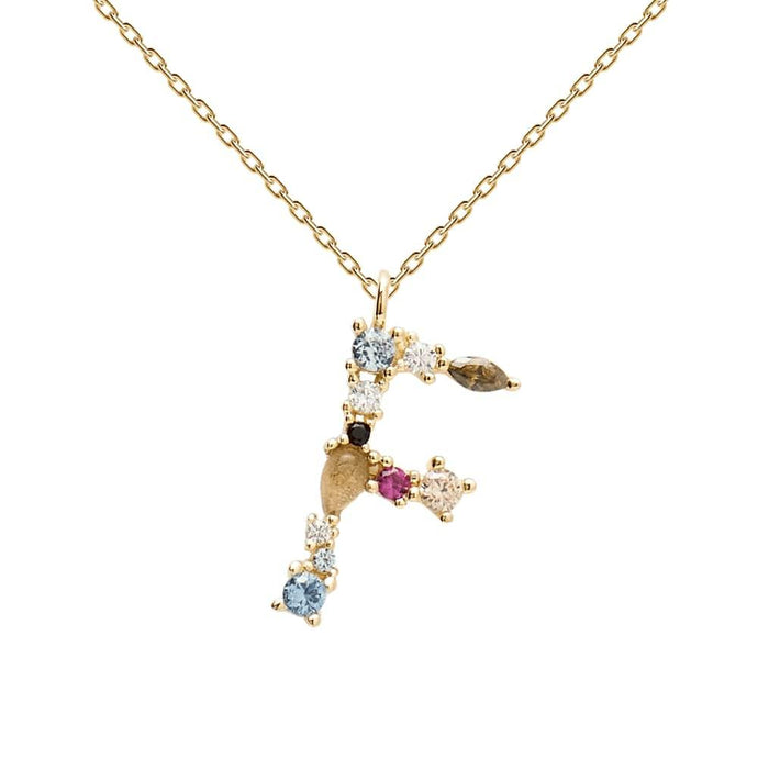 Multi-color Labradorite, Aquamarine, and Zircon Studded Letter 'F' 18k Gold Plated Initial Pendant With Chain