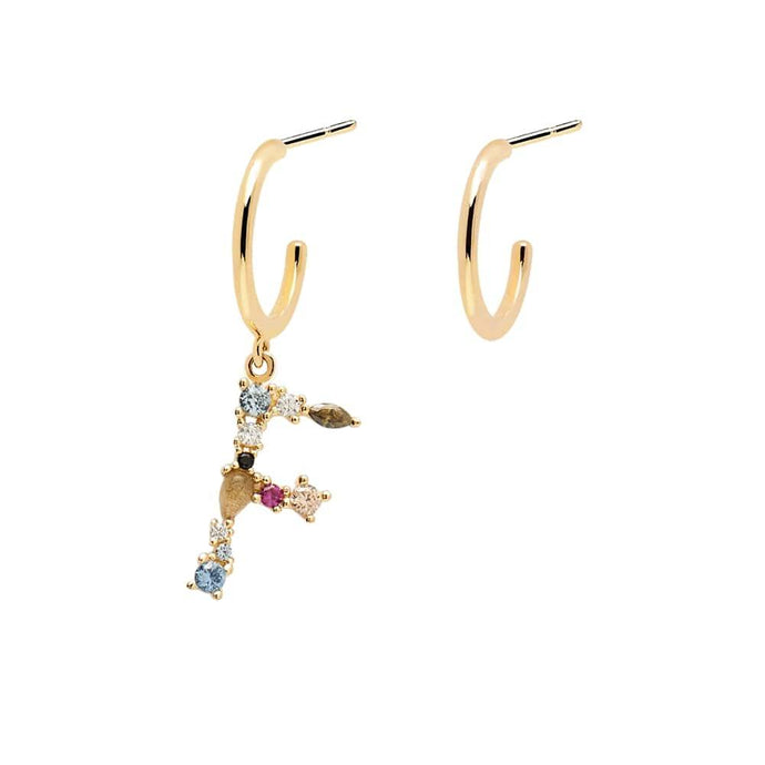 Letter F Semi-precious Colorful Multi-stone Asymmetric Dangle Initial Alphabet Earrings
