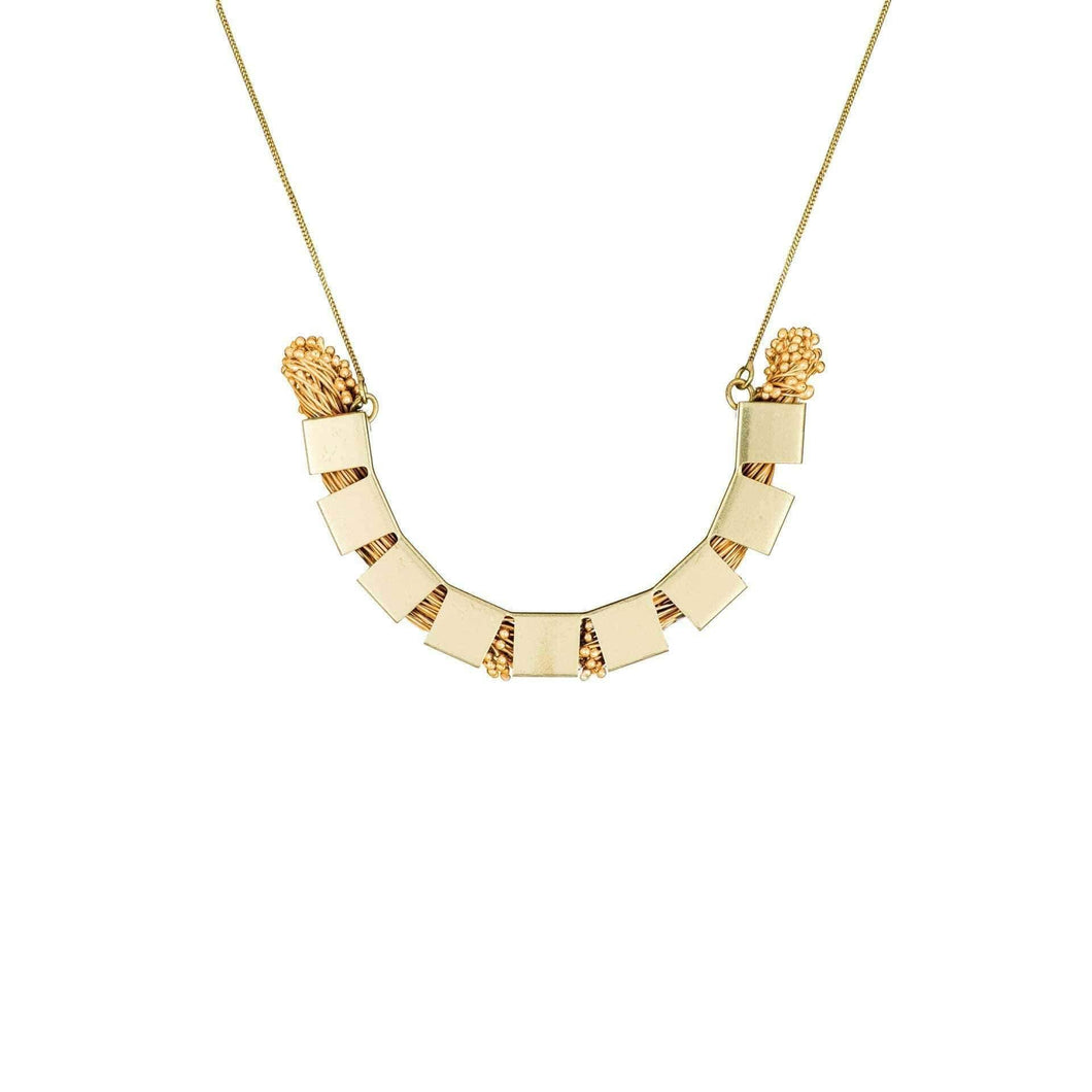 U-shaped Flora Arc Brass Necklace - Tanzire Store