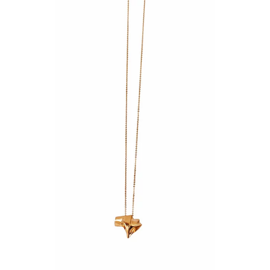 Handmade Chunky 24k Gold Plated Textured Folded Star Pendant Necklace