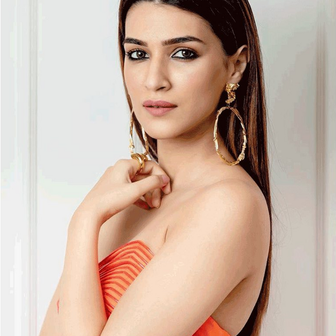 Bollywood Actress Kriti Sanon Wearing 18k Gold-Plated Handmade Spiral Statement Ring for Movie Promotion