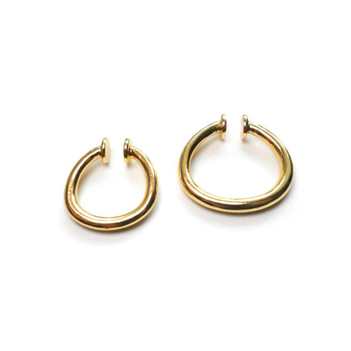 Handmade Delicate big and small ear cuff set of two gold plated minimal easy click ear cuffs for women