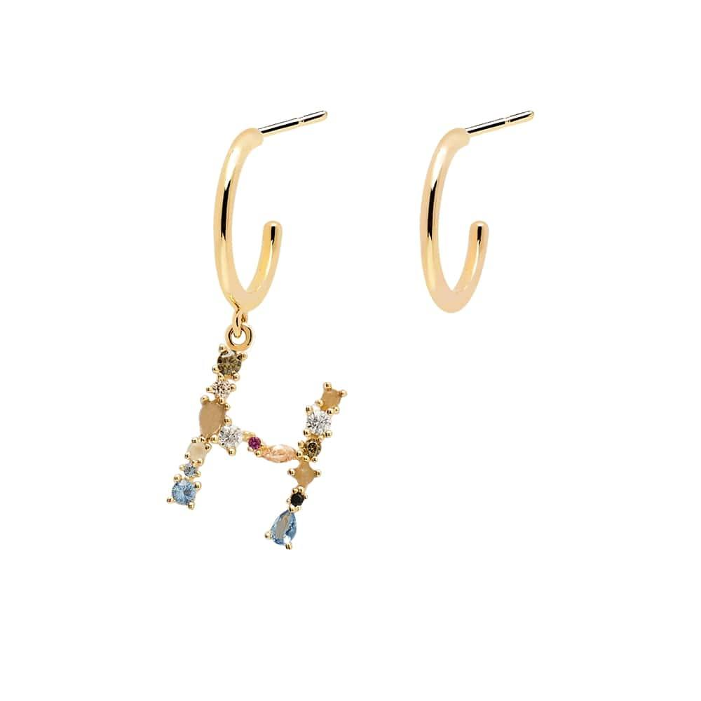 Letter H Semi-precious Colorful Multi-stone Asymmetric Dangle Initial Alphabet Earrings