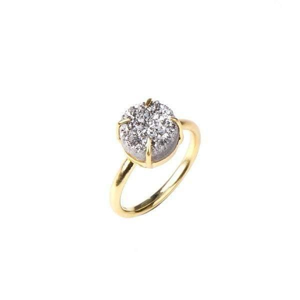 Holly Silver Moon Gold Plated Druzy Ring - Tanzire Store