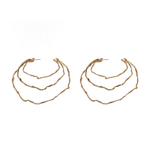 Load image into Gallery viewer, Unique Handmade 24k Gold Plated  Oversize Triple Hoop Earrings