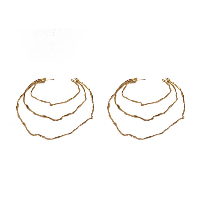 Unique Handmade 24k Gold Plated  Oversize Triple Hoop Earrings