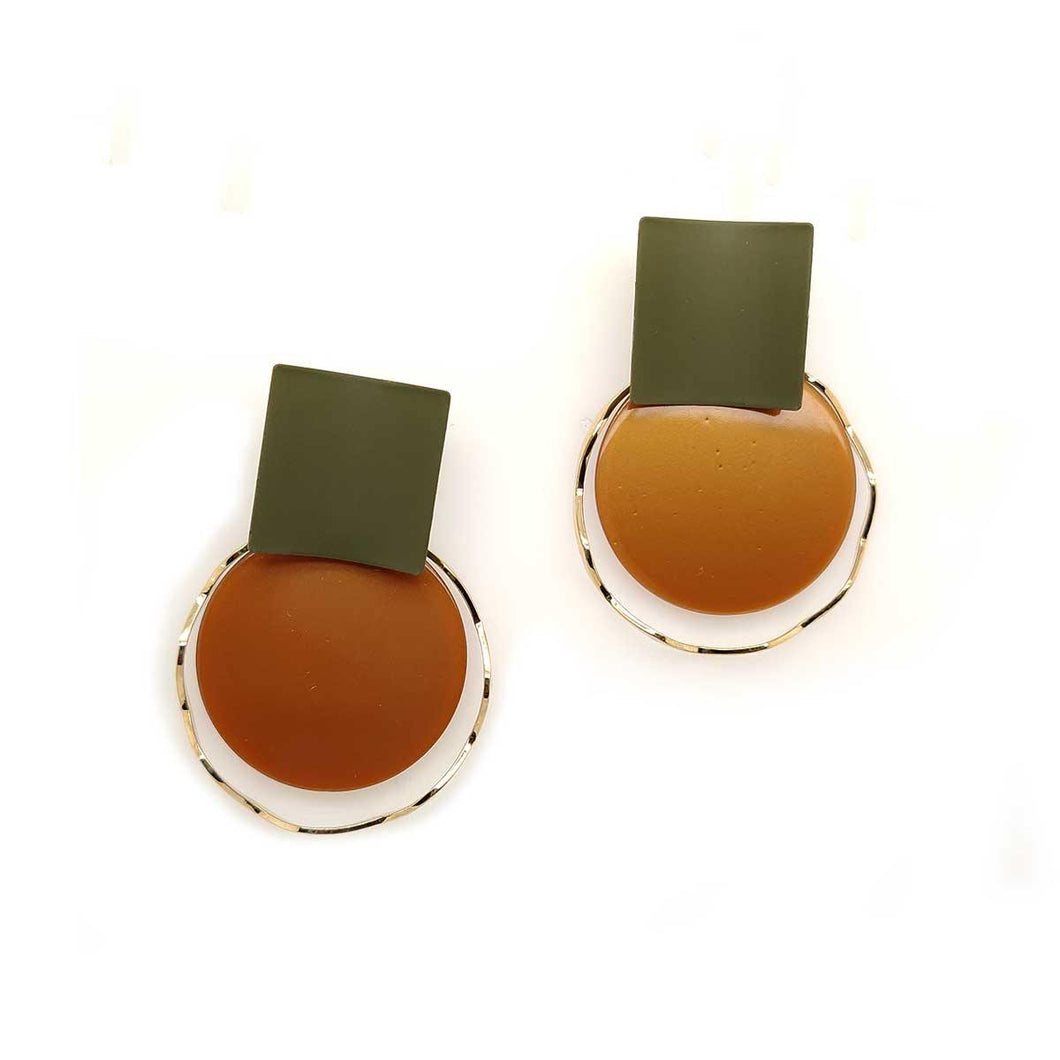 Oporto Disc Drop Stud Earrings