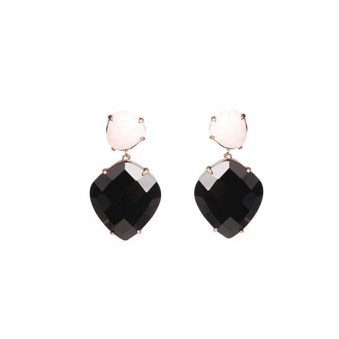 Infinite Love Pink Quartz & Black Onyx Sterling Silver Earrings - Tanzire Store